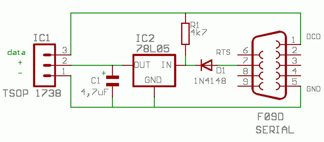 Одна из возможных схем ИК-приемника.  Для ИК-приемника подойдет любой 5-вольтовый инфракрасный приемник...